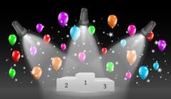 Winning podium and lights with balloons Stock Illustration