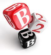 B2b red white black blocks Stock Illustration