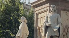 MILAN, ITALY-JULY 21,2015: People walking near statue of Leonardo da Vinci at Stock Footage