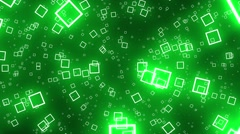 Flying Squares Green Abstract Psychedelic VJ Background Loop Rotate Right - stock footage
