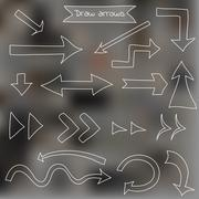 Set of draw arrows on blurred background - stock illustration