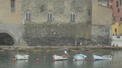 Boats near Church of Santa Margherita d'Antiochia, Cinque Terre Stock Footage