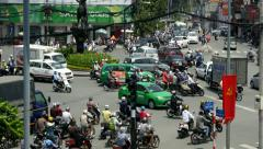 4k busy city traffic intersection pedestrians time lapse timelapse Saigon crowd - stock footage