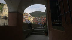 Tourists walking and having fun in Vernazza, Cinque Terre Stock Footage