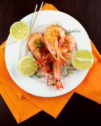 Roasted Shrimps - stock photo
