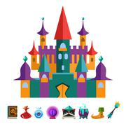 Stock Illustration of Medieval Fortress and Elements for Games. Vector Flat