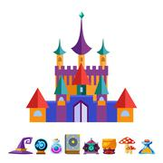 Stock Illustration of Medieval Castle and Elements for Games. Vector Illustrations