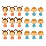 Cute Girl and Boy Faces Showing Different Emotions - stock illustration