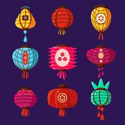 Colourful Lanterns Set. Vector Illustration Stock Illustration