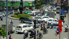 4k busy crazy city traffic intersection pedestrians time lapse timelapse crowd - stock footage