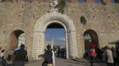 Entering the Cathedral Square of Pisa Stock Footage