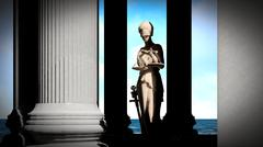Themis - lady of justice in court - stock illustration