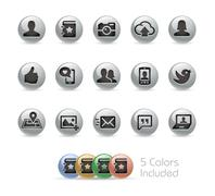 Social Communications Icons -- Metal Round Series Piirros