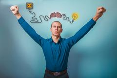 Male businessman raised his hands gesture of victory brain boost Stock Photos