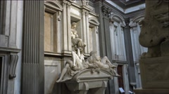 ULTRA HD 4K real time shot,The Medici Chapels, with sculptures by Michelangelo Stock Footage