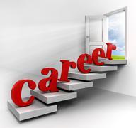 career word on stair - stock illustration