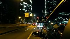 Frankfurt Car Driving at Night 2 Stock Footage