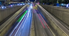 Night scene of urban traffic.Time Lapse - Trail effect - Long exposure Stock Footage