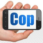 Law concept: Hand Holding Smartphone with Cop on display - stock illustration