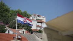 Croatian flag on the island Solta Stock Footage