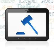 Stock Illustration of Law concept: Tablet Computer with Gavel on display