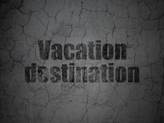 Tourism concept: Vacation Destination on grunge wall background - stock illustration
