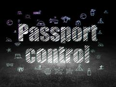 Vacation concept: Passport Control in grunge dark room Piirros