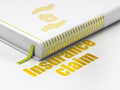 Stock Illustration of Insurance concept: book House And Palm, Insurance Claim on white background