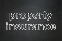 Stock Illustration of Insurance concept: Property Insurance on chalkboard background