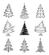 Stock Illustration of Christmas trees, set