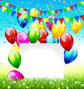 Stock Illustration of Paper frame buntings balloons grass and confetti on sky