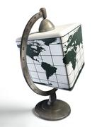 Cube desktop metal globe Stock Illustration