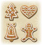 Set of Gingerbread Christmas Cookies on Beige - stock illustration