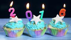 Cupcakes and candles Happy New Year 2016 Stock Footage