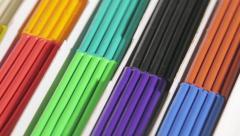 Samples of multi-colored children's plasticine Stock Footage