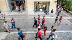 Stock Video Footage of People walking on the Ermou street (Athens pedestrian zone)
