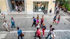 People walking on the Ermou street (Athens pedestrian zone) Stock Footage