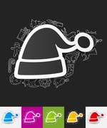 Stock Illustration of santa hat paper sticker with hand drawn elements