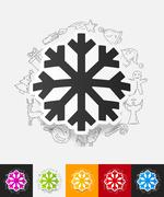 Snowflake paper sticker with hand drawn elements Stock Illustration
