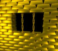 Gold prison - stock illustration