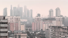 Skyscrapers International Business Center City at cloudy day timelapse, Moscow Stock Footage