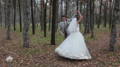 A wedding day of the two happy professional dancers (bride and groom) Stock Footage