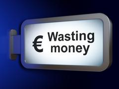 Banking concept: Wasting Money and Euro on billboard background - stock illustration