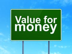 Stock Illustration of Banking concept: Value For Money on road sign background