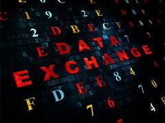 Information concept: Data Exchange on Digital background - stock illustration