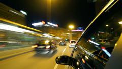Frankfurt Car Driving at Night 4 Stock Footage