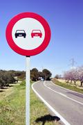 no overtaking sign in a secondary road - stock photo