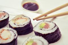 Tray with an assortment of makizushi Stock Photos