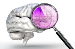 scan on human brain with magnifying glass radar - stock illustration