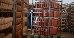Shop for the production of sausage, sausage in boxes Stock Footage